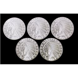 Silver Incused Indian Head Silver Rounds 5 Troy Oz