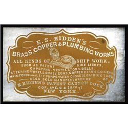 E. S. Hidden's Brass, Copper & Plumbing Works. Cameo Business Card, ca.1860-70's