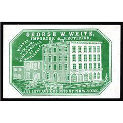 George W. White. Brandy, Gun, Rum, Cameo Business Card, ca.1860-70's