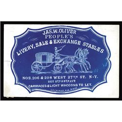 Jas. W. Oliver People's Livery, Sale & Exchange Stables Cameo Business Card, ca.1860-70's