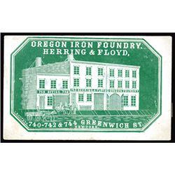 Oregon Iron Foundry. Cameo Business Card, ca.1860-70's