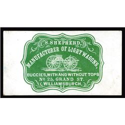 S. Shepherd, Light Wagons. Cameo Business Card, ca.1860-70's