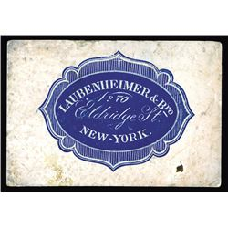 Rudolph P. Laubenheimer Large and Small Business Cards, ca.1855-80's