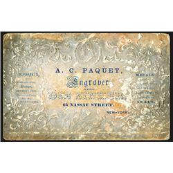 A.C. Paquet, Business Card, ca.1860-70's