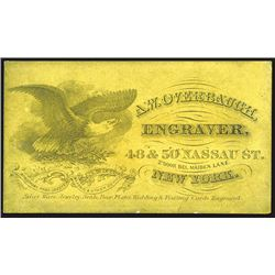 A.W. Overbaugh, Engraver, Business Card, ca.1860-70's