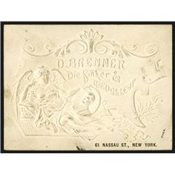 D. Brenner, Die Sinker and Medallear, Business Card, ca.1890-1905