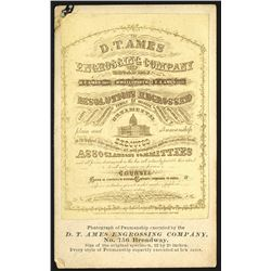 D.T. Ames Engrossing Co. Business Card, ca.1860-70's