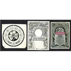 Carpet Labels & Proofs, ca.1870-90's