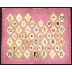 Display sample board from Rudolph's Shop, ca.1870's