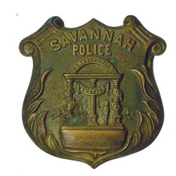 Savannah Police Shield Brass Stamping for Badge, ca.1880-90's