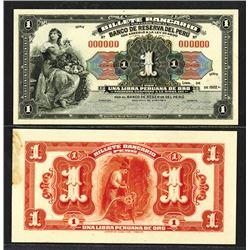 Banco De Reserva Del Peru - Billete Bancario, 1922 Issue Unique Mock Up Proof Uniface Obverse and Re