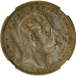 German States, Hesse-Darmstadt, 1876H, 5 Mark.
