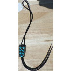 Turquoise and Sterling Silver Bolo Tie