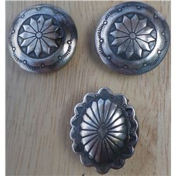 Three Sterling Silver Button Covers