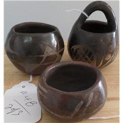 Three Santa Clara Pottery Pieces