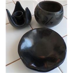 Three Black Pueblo Pottery Items