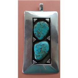 Signed Navajo Sterling Silver and Turquoise Pendant