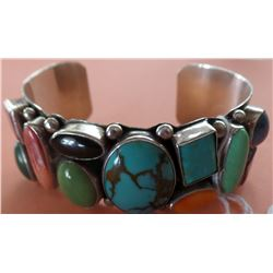 Navajo Multi Stone Sterling Silver Cuff Bracelet
