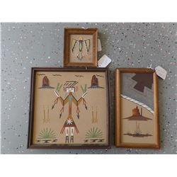 Three Framed Sand Paintings