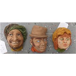 Three Plaster faces from the Past
