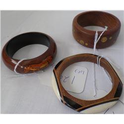 Three Wood Carved Bangle Bracelets