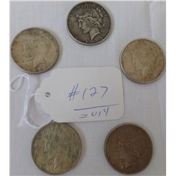 5 Silver Dollars (Peace)