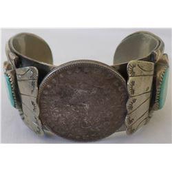 Navajo Watch Bracelet w/ Silver Dollar