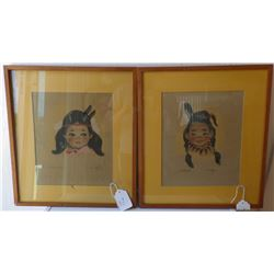 Signed Pair of Pictures pastel from 1950's