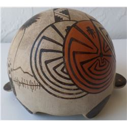 Effigy Turtle Pottery  with a Man in the Maze Design