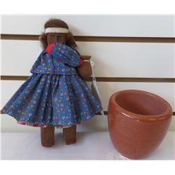Tarahumara Wood Doll and Signed Pottery Bowl