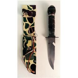 VINTAGE HUNTING/SURVIVAL FIGHTING KNIFE-SHEATH, COMPASS