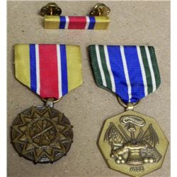 2) U.S. ARMY MILITARY MEDALS W/RIBBON AND RIBBON BAR