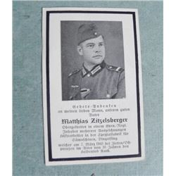 ORIG NAZI  WWII FUNERAL CARD WITH WEHRMACHT OFFICER PIC