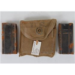 WWII U.S. CANVAS CARBINE AMMO POUCH WITH 2 CLIPS-POUCH