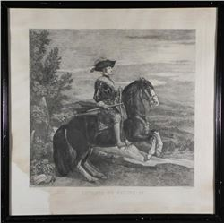 Retrato De Felipe IV Antique Etching Art Print Framed