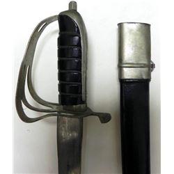 """MASSIVE VINTAGE INDIAN SWORD-CURVED 31"""" BLADE-ETCHED"""
