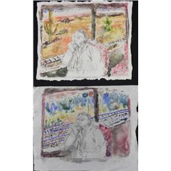 2 Betty Snyder Rees Signed Orig Paintings- Train Ride