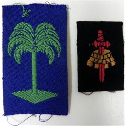 2 WWII PATCHES-PALM TREE (2ND DIV) & BLACK PATCH CROWN
