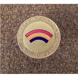 WWII HONORABLE DISCHARGE PIN -RAINBOW DIV.-42ND DIV