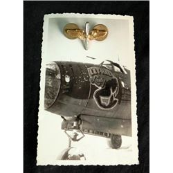 WWII PILOTS INSIGNIA--W/ORIG FGHTR PLANE NOSE ART PHOTO