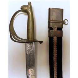 VINTAGE DOUBLE ETCHED INDIAN SHORT SWORD-HORSE HEAD POM