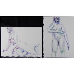 2 Betty Snyder Rees Original Nude Color Figure Drawings