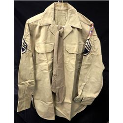 WWII US ARMY HEAVY COTTON FIELD SHIRT-PATCHES-DRESS TIE