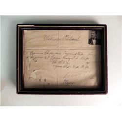 GERMAN WWI FRAMED DOCUMENT W/ PIC OF REGT 74 SOLDIER