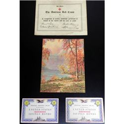 WWI RED CROSS AWARD DOCUMENT AND 2) SAVING STAMP BOOKS