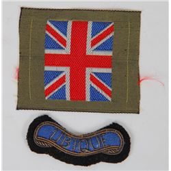 WWII BRITISH UNIFORM UNION JACK & UBIQUE PATCH