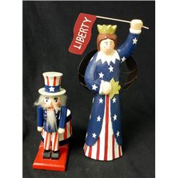 WOOD STATUE OF MISS LIBERTY & NUTCRACKER OF UNCLE SAM