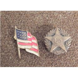 TWO WWI PATRIOTIC PINS-US IN STAR & FLAG