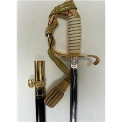 U.S. NAVAL SABER--MINT-ETCHED BLADE WITH GOLD KNOT-COVE