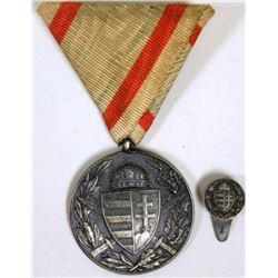 WWI GERMAN IMPERIAL VETERAN'S MEDAL AND LAPEL PIN